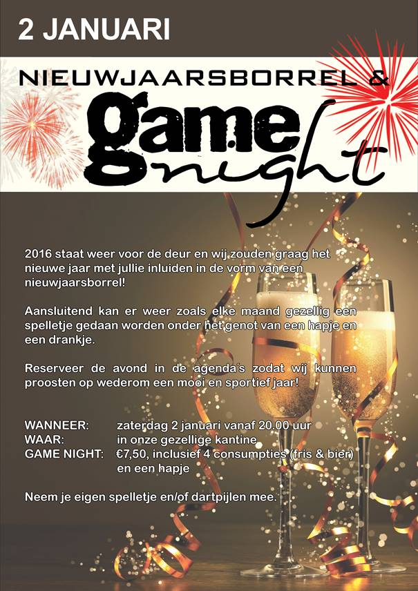 2 januari Nieuwjaarsborrel & Game Night‏